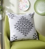 Grey Cotton 16 x 16 Inch Toda Embroidery Cushion Cover by One Good Thing