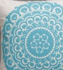 White & Blue Canvas 16 x 16 Inch Suzani-Embroidered Cushion Cover - Set of 2 by One Good Thing