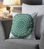 White & Green Canvas 16 x 16 Inch Suzani-Embroidered Cushion Cover - Set of 2 by One Good Thing