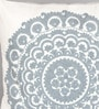 White & Grey Canvas 16 x 16 Inch Suzani-Embroidered Cushion Cover - Set of 2 by One Good Thing