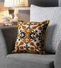 White & Mustard Canvas 16 x 16 Inch Aari-Embroidered Cushion Cover - Set of 2 by One Good Thing