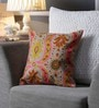 Yellow & Pink Canvas 16 x 16 Inch Aari-Embroidered Cushion Cover - Set of 2 by One Good Thing