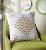 Yellow Cotton 16 x 16 Inch Toda Embroidery Cushion Cover by One Good Thing