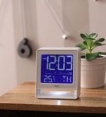 White ABS 3.9 x 2.5 x 4.6 Inch Digital Table Clock