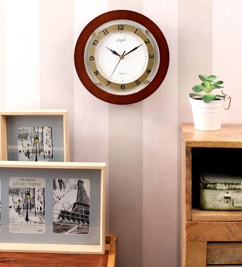 Buy Opal Brown Wooden 9.5 Inch Round Designer Wall Clock Online