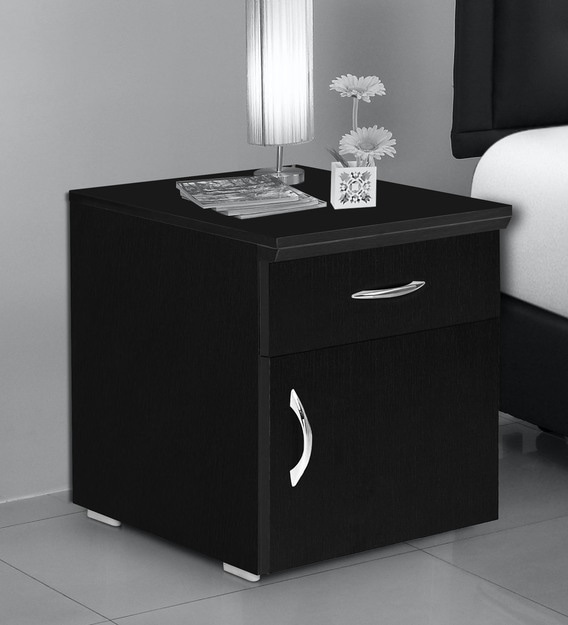 Buy Opal Bed Side Table With Shutter Drawer In Wenge Colour By Fullstock Online Bedside Cabinets Tables Furniture Pepperfry Product