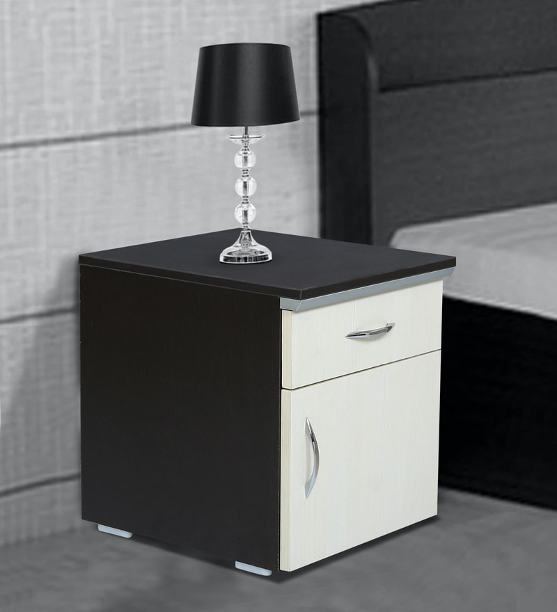 Buy Opal Bed Side Table With Shutter Drawer In Wenge White Colour By Fullstock Online Bedside Cabinets Tables Furniture Pepperfry Product