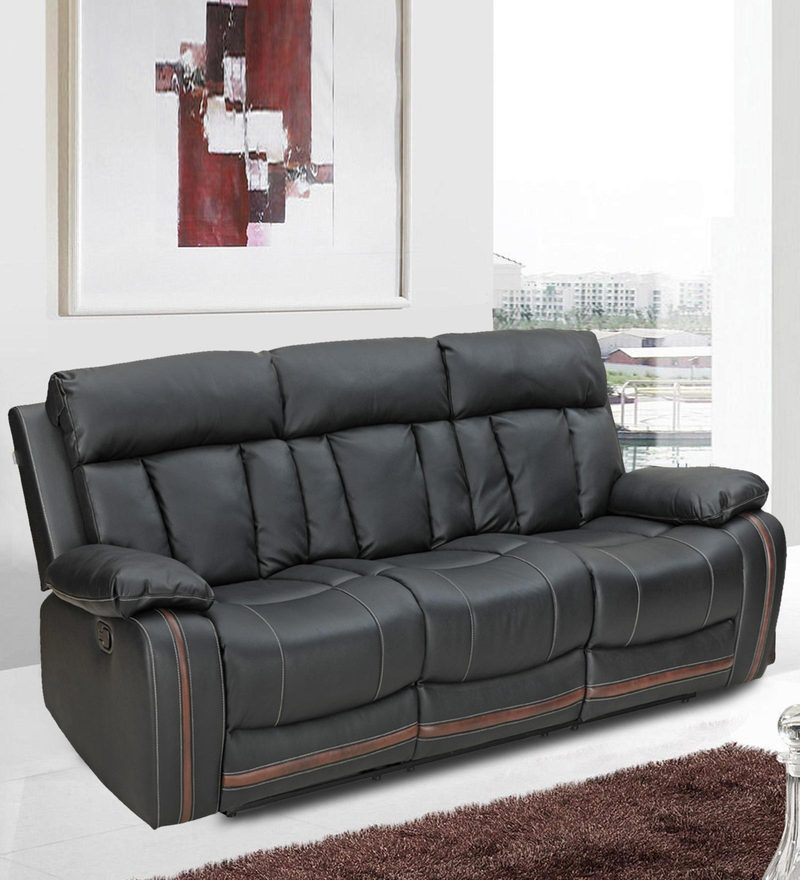 Optima Three Seater Recliner in Black Colour by Royal Oak
