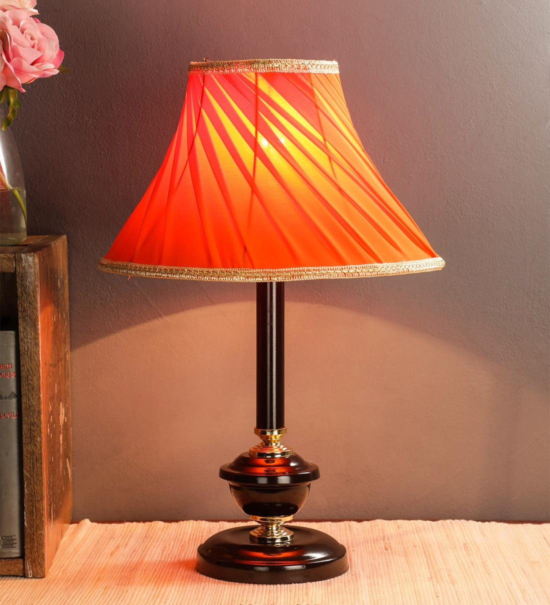 Buy Orange Fabric Shade Table Lamp With Brown Base By Foziq Online Modern And Contemporary Table Lamps Table Lamps Lamps Lighting Pepperfry Product
