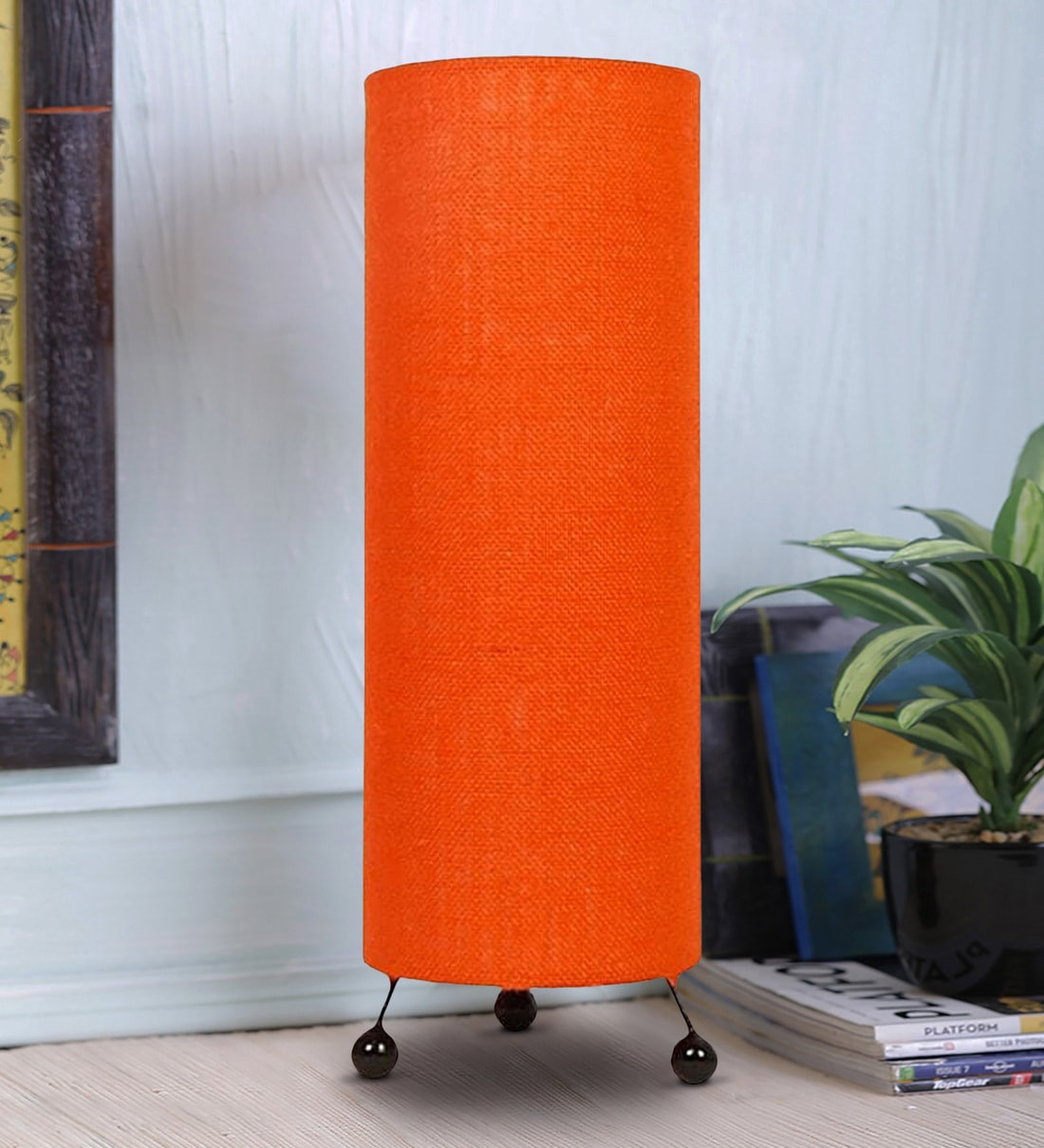 Buy Orange Natural Fiber Shade Table Lamp With Black Base By Lavish Online Modern And Contemporary Table Lamps Table Lamps Lamps Lighting Pepperfry Product