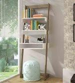 Orafu Display Unit with Book Shelves cum Study Desk in Oak & White Finish
