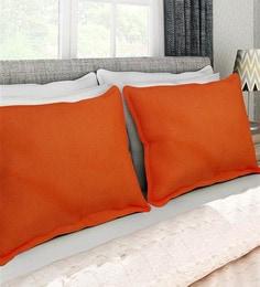 Orange 100% Cotton 17 X 27 Inch Pillow Cover - Set Of 2