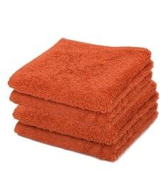 Orange 100% Cotton Face Towels - Set Of 4