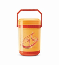 Orange Plastic & Stainless Steel Lunch Box With 4 Leak Lock Containers