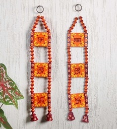 Orange Terracotta Wall Hanging With Bell Danglers