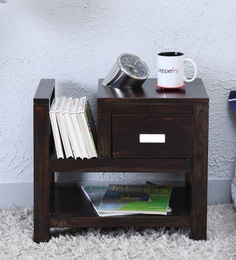 Oriel Bed Side Table With Book Shelf In Warm Chestnut Finish