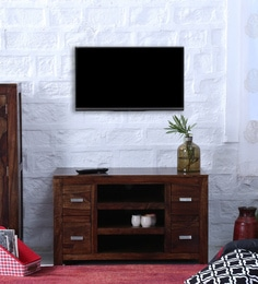 Oriel Four Drawer Entertainment Unit In Provincial Teak Finish