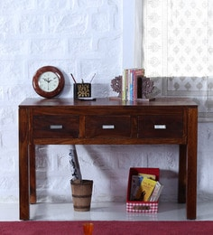 Oriel Three Drawer  Console Table In Honey Oak Finish