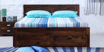 Oriel Queen Bed With Two Drawer Storage In Provincial Teak Finish