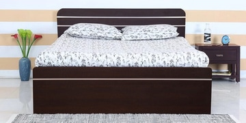 Orion Queen Size Bed With Box Storage In Wenge Finish