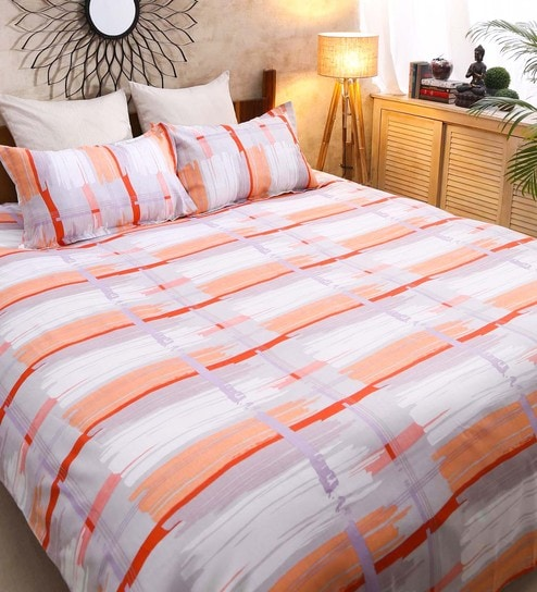 Galaxy Geometric Pattern 120TC Cotton Queen Size Bed Sheet With 2 Pillow  Covers By Raymond Home