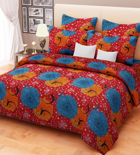 Orange And Blue Dahlia On Red Print Poly Cotton Double Bed Sheet Set - Orange print sheets