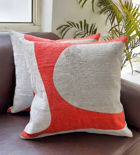 Set of 2 Abstract Pattern Cotton Orange Cushion Covers 18 x 18 inches by  Avira Home