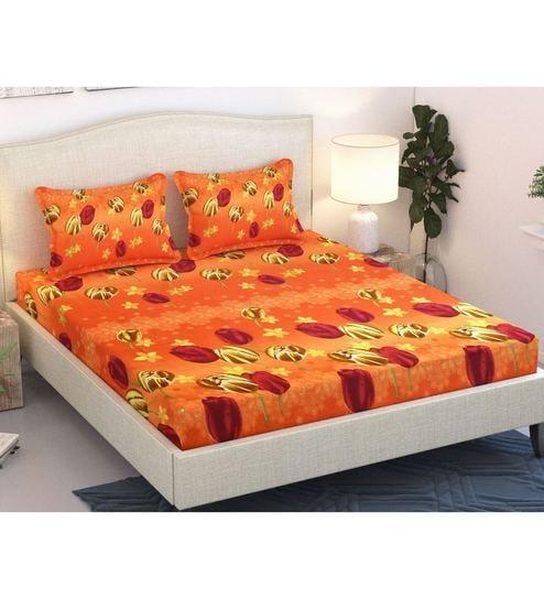 Orange Cotton Queen Size Bedsheet   Set Of 3 By Azaani