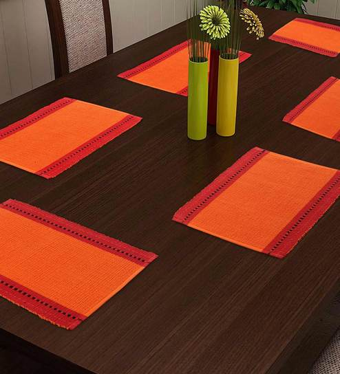 Orange Cotton Abstract Placemats Set