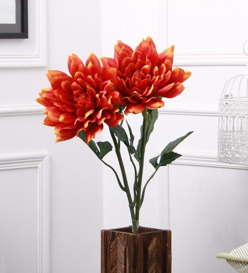Orange Fabric Plastic Artificial Decorative Dehalia Flower Stick By Fourwalls Set Of 2