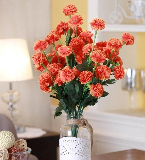 Orange Fabric Plastic Artificial Marigold Flower Bunch By Fourwalls