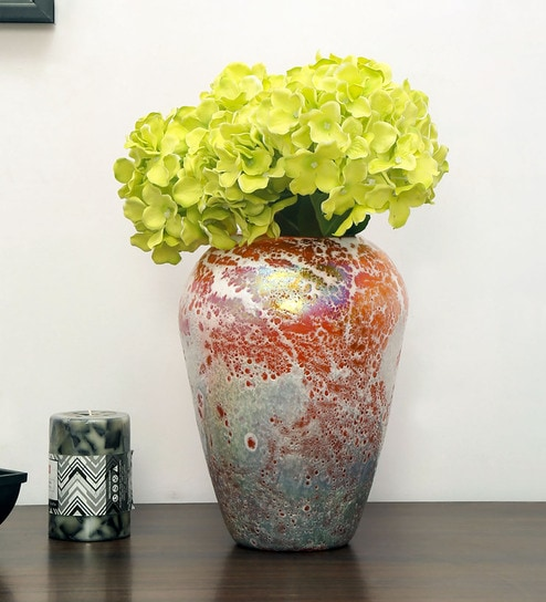 Orange Glass Floral Delight Small Vase by @home & Buy Orange Glass Floral Delight Small Vase by @home Online - Glass ...