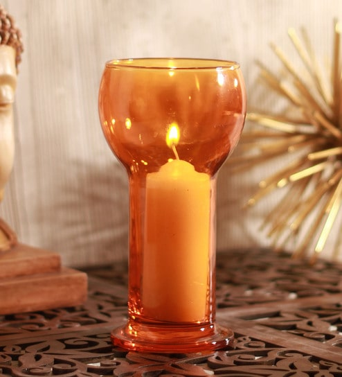 Orange Glass Lucilla Candle Holder