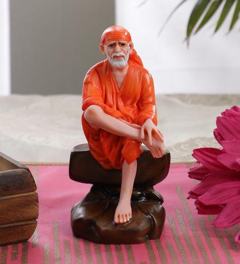 Orange Marble Sai Baba Big Idol by Gallery99