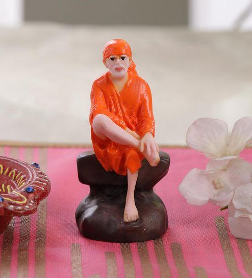 Orange Marble Sai Baba Small Idol by Gallery99