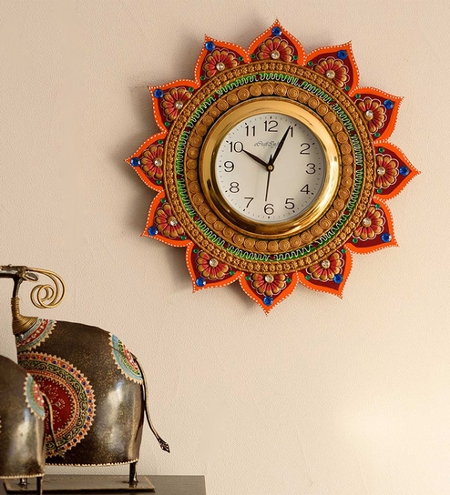68ee51f135 Orange Paper Mache Royal and Elegant Decorative Wooden Handcrafted Wall  Clock by eCraftIndia