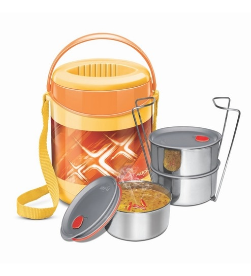 Orange Plastic & Stainless Steel Lunch Box With Leak Lock 3 Containers - 1613449