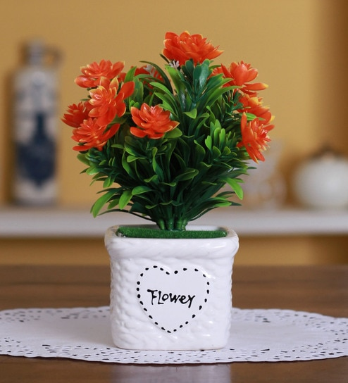 Buy orange polyester artificial lotus flower in a ceramic vase by orange polyester artificial lotus flower in a ceramic vase by fourwalls mightylinksfo