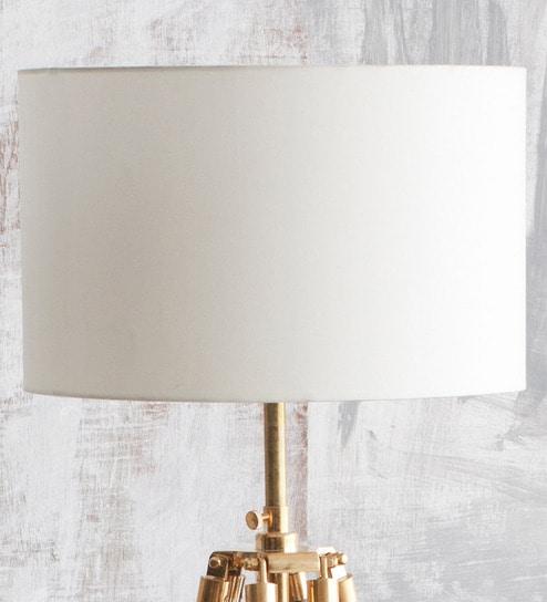 Off White Cotton Straight Drum Lamp Shade By Orange Tree