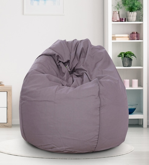 Organic Cotton L Bean Bag Cover In Grey Colour By Reme