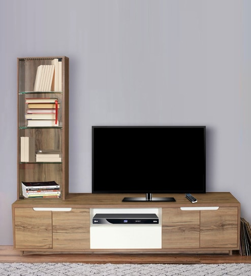 Oria Tv Unit Book Shelf With Display In Virgin Oak Finish By Crystal Furnitech