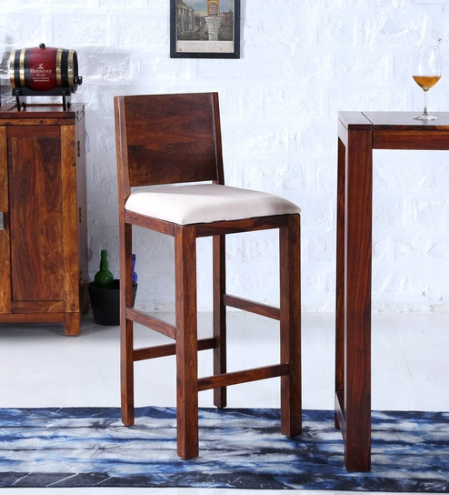 Oriel Solid Wood Bar Stool In Honey Oak Finish By Woodsworth