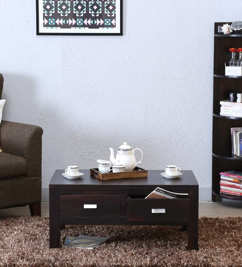 Oriel Two Drawer Coffee Table in Warm Chestnut Finish by Woodsworth