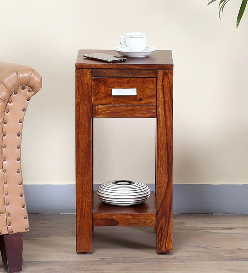 Oriel Solid Wood End Table In Honey Oak Finish By Woodsworth