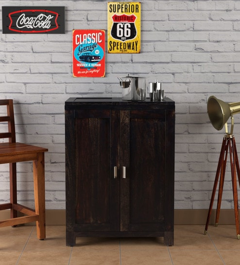 Buy Oriel Solid Wood Bar Cabinet In Warm Chestnut Finish By