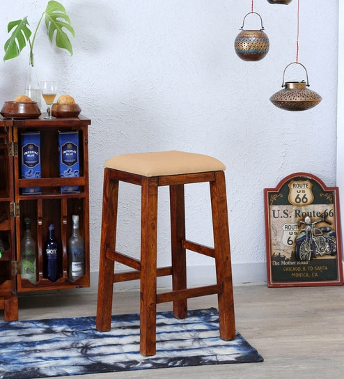 Surprising Oriel Solid Wood Bar Stool In Honey Oak Finish By Woodsworth Unemploymentrelief Wooden Chair Designs For Living Room Unemploymentrelieforg