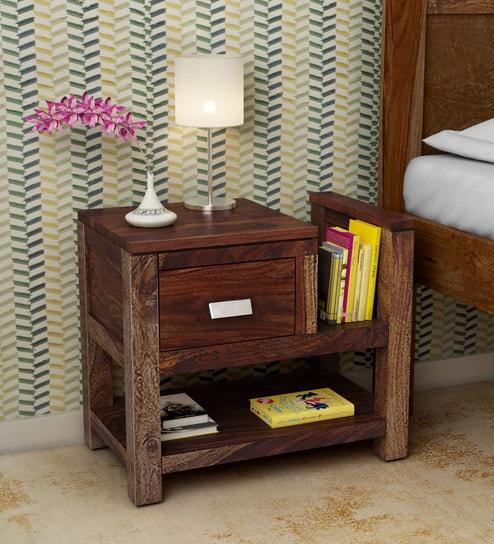 82d47a8aac7 Buy Oriel Solid Wood Bed Side Table with Book Shelf in Provincial Teak  Finish by Woodsworth Online - Contemporary Bedside Tables - Bedside Tables  ...