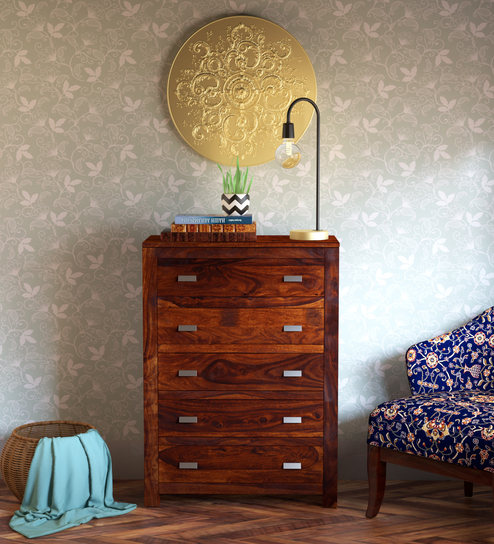 buy online 04adb d7fcc Oriel Solid Wood Chest of Drawers in Honey oak Finish by Woodsworth