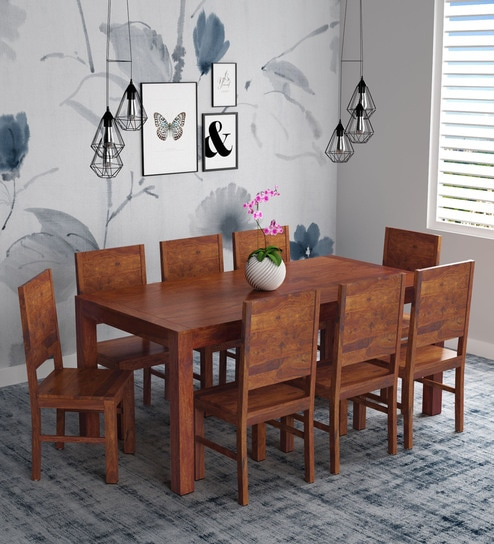 official photos 52e87 501c1 Oriel Solid Wood 8 Seater Dining Set in Honey oak Finish by Woodsworth