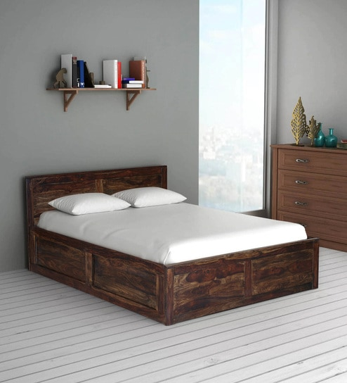 Buy Oriel Solid Wood King Size Bed With Storage In Provincial Teak